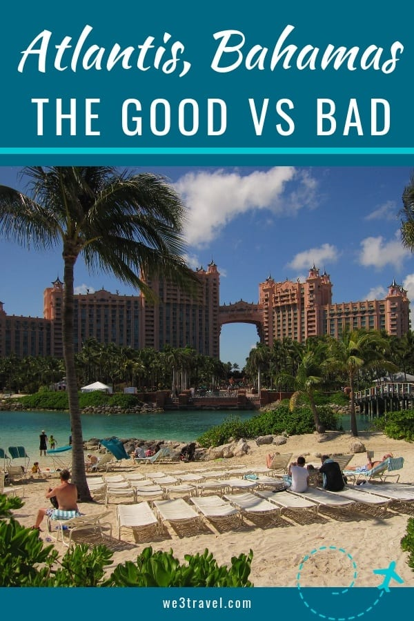 The Atlantis in the Bahamas is a large family-friendly resort in the Caribbean, but as beautiful as it is, it also has some drawbacks. In this Atlantis Bahamas review we go through the good and the bad of the resort. #atlantis #hotels #bahamas #caribbeanhotels #caribbean #familytravel #luxuryhotels