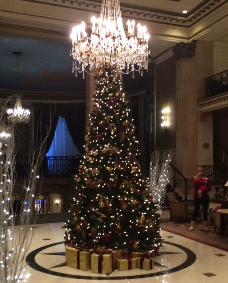 Christmas Tree in the lobby of the Roosevelt Hotel