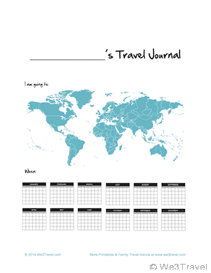 Kid Travel Journal Printable Cover for download at We3Travel.com