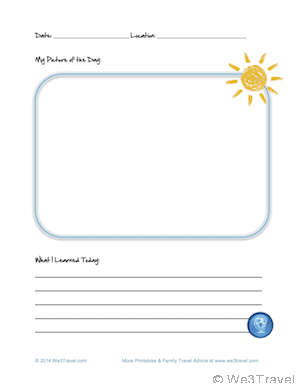 Free kid travel journal printable picture page downloadable at We3Travel.com