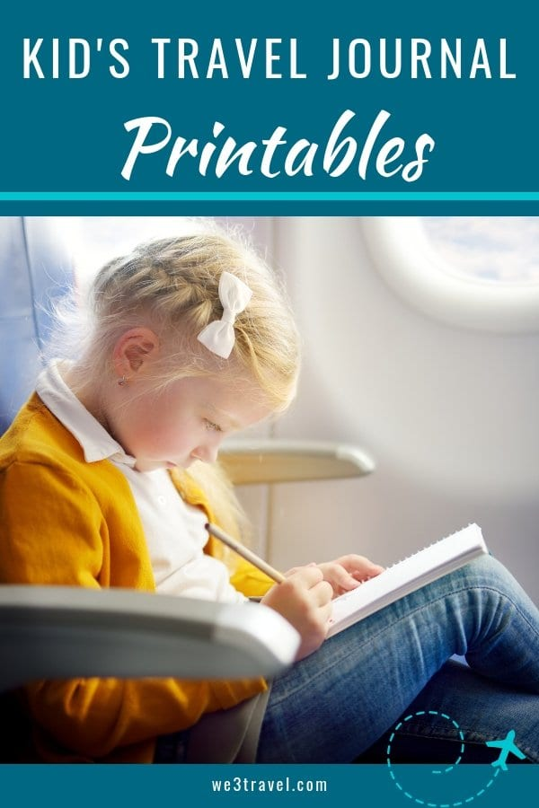 Free travel journal printable pages for kids. Make vacation downtime fun and capture memories with these travel journal printables. They will become priceless family heirlooms! #printables #travel #familytravel #traveljournals #traveljournal