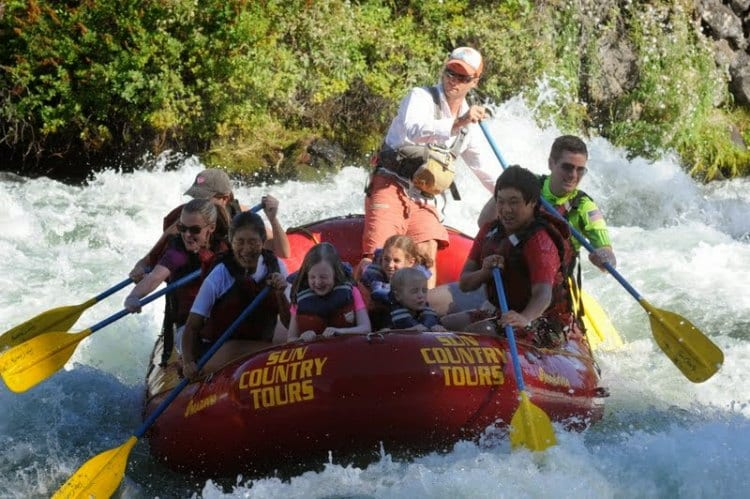 White water rafting Deschutes River Bend Oregon Sun Country Tours review