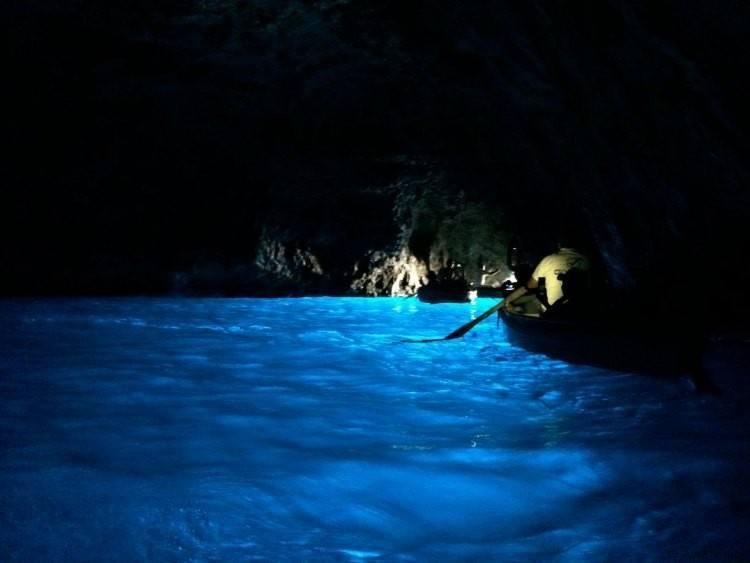 Leaving the blue grotto in Capri
