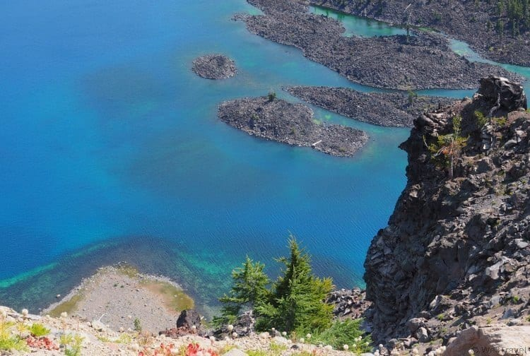 The blue water of Crater Lake Oregon