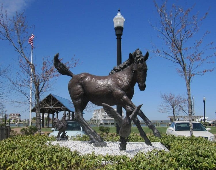 Misty of Chincoteague statue -- Where to find the wild ponies and other things to do in Chincoteague VA