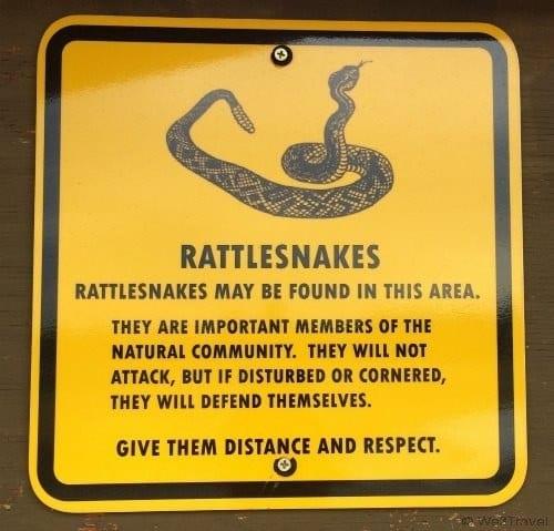 Rattlesnake sign at Smith Rock State Park