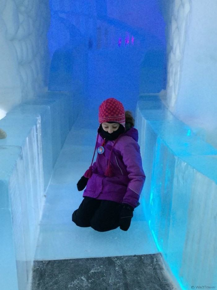 When touring the Ice Hotel, be sure to take a ride on the ice slide! Ice Hotel in Quebec | Hotel de Glace