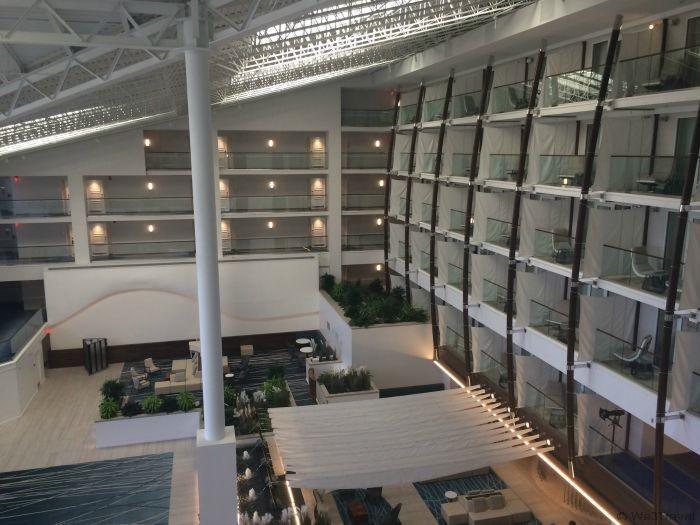 Weekend getaway to Newport Rhode Island -- Newport Marriott lobby from 3rd floor