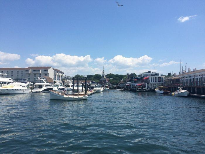 Newport harbor from the water on a weekend in Newport RI