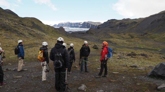 Glacier hiking in Iceland with Arcanum Glacier Tours -- safety talk before going onto the glacier