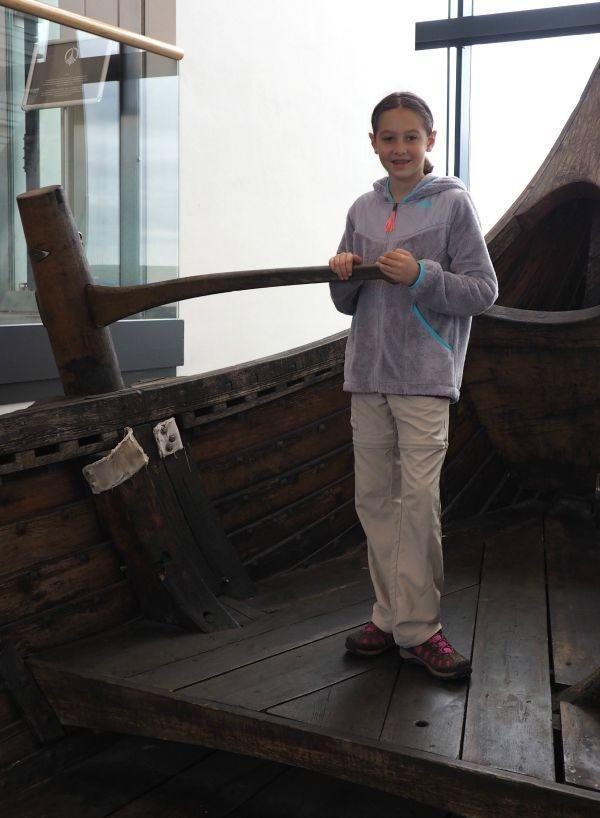 On the Viking ship Icelander at the Vikingworld Museum in Iceland