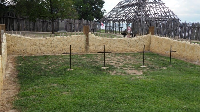 The outline of the 1608 original church at Historic Jamestowne