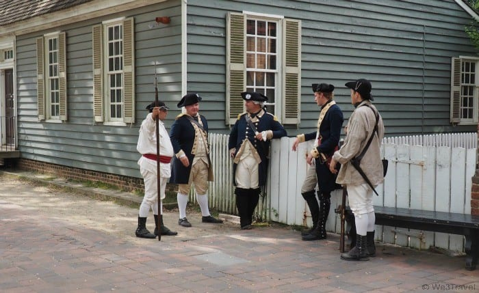 Living history actors on the streets of Colonial Williamsburg