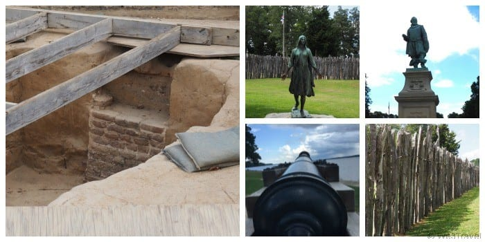 Historic Jamestowne archaeological digs, historic fort and the statues of Pocahontas and Captain John Smith