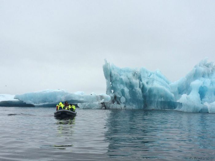 Getting up close to icebergs in the glacier lagoon