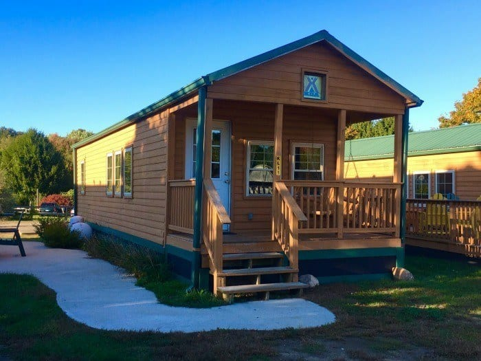 Deluxe cabins at the KOA Mystic CT