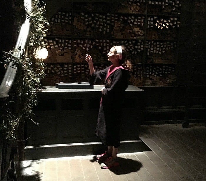 Picking a wand at Ollivanders in Hogsmeade