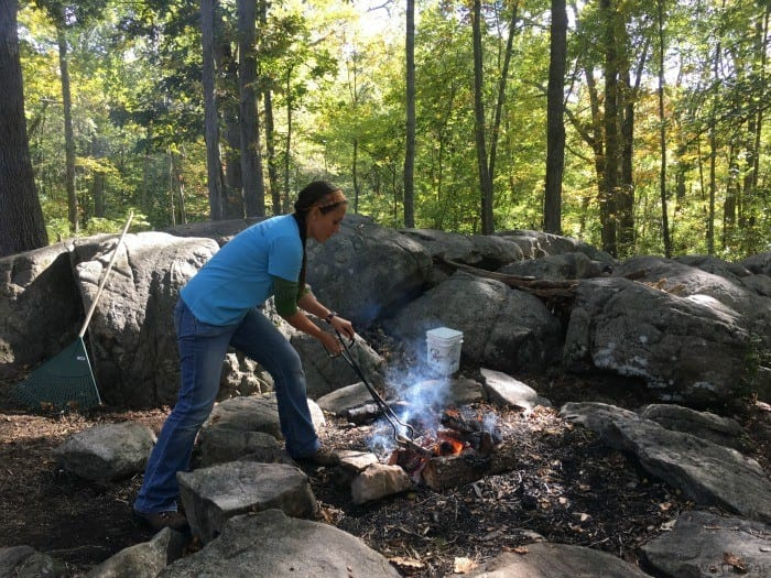 Campfire cooking at the Deninson Pequotsepos Nature Center