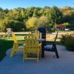 Deluxe KOA cabin outdoor eating area
