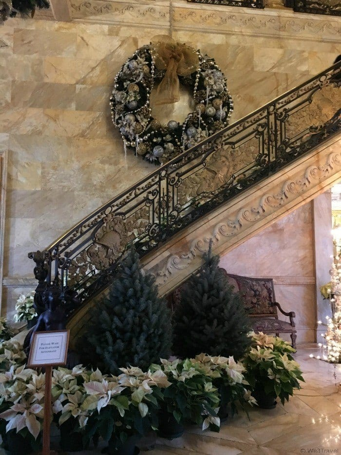 Christmas at the Newport Mansions -- Marble House staircase