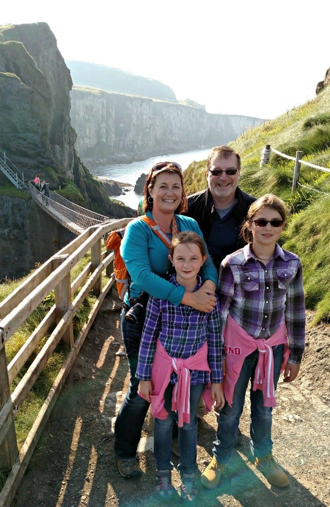 Across the Carrick a Rede Rope Bridge in Ireland