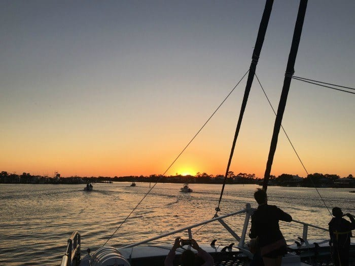 Sunset catamaran sail with Sail Wild Hearts in Orange Beach Alabama