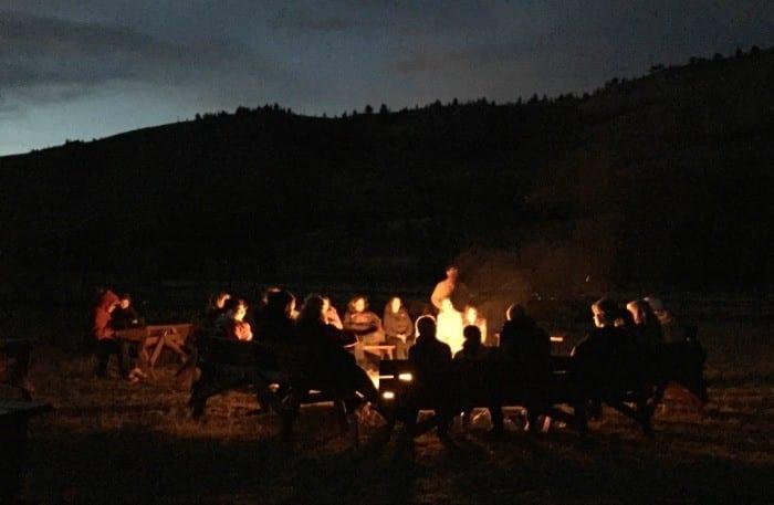 Campfire at the nine quarter circle ranch