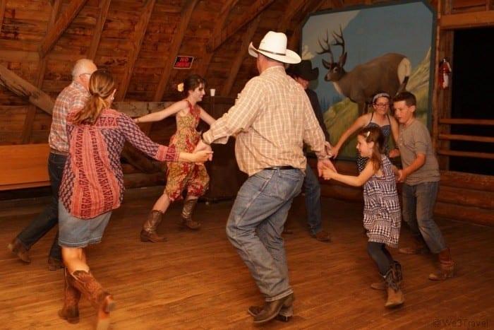 Square dancing at a family dude ranch vacation