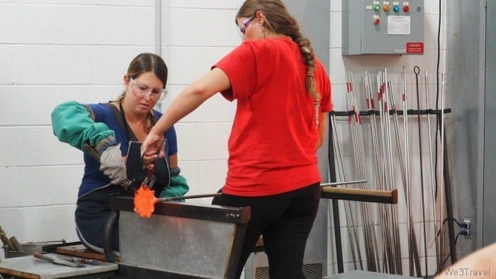blowing glass at the Corning Museum of Glass
