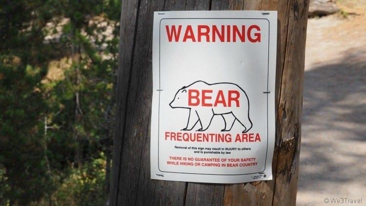 Bear warning sign in Yellowstone