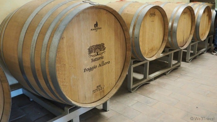Fattoria Poggio Alloro wine barrels