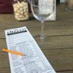 Newport Vineyards wine tasting menu