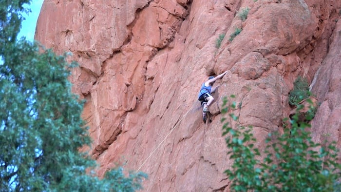 Rock climbing in Colorado Springs in winter
