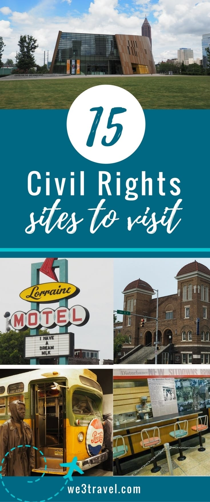 15 Civil Rights sites to visit with your kids. Teach the kids about Martin Luther King Jr. and other leaders of the civil rights movement in the United States at one or more of these museums and historic sites. #civilrights #marthinlutherking #mlk