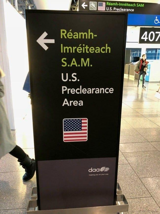 Dublin airport USA preclearance sign