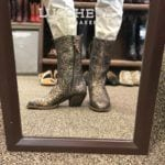 Lucchese python boots in mirror