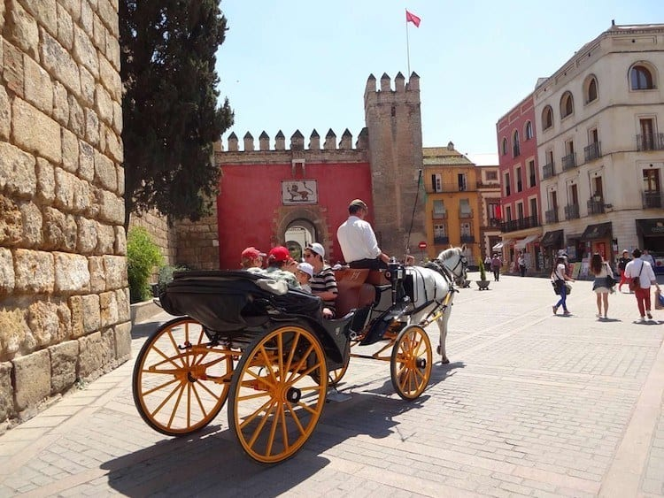 Seville, near the entrance to Royal Alcaz, Uniesco's World Heritage site