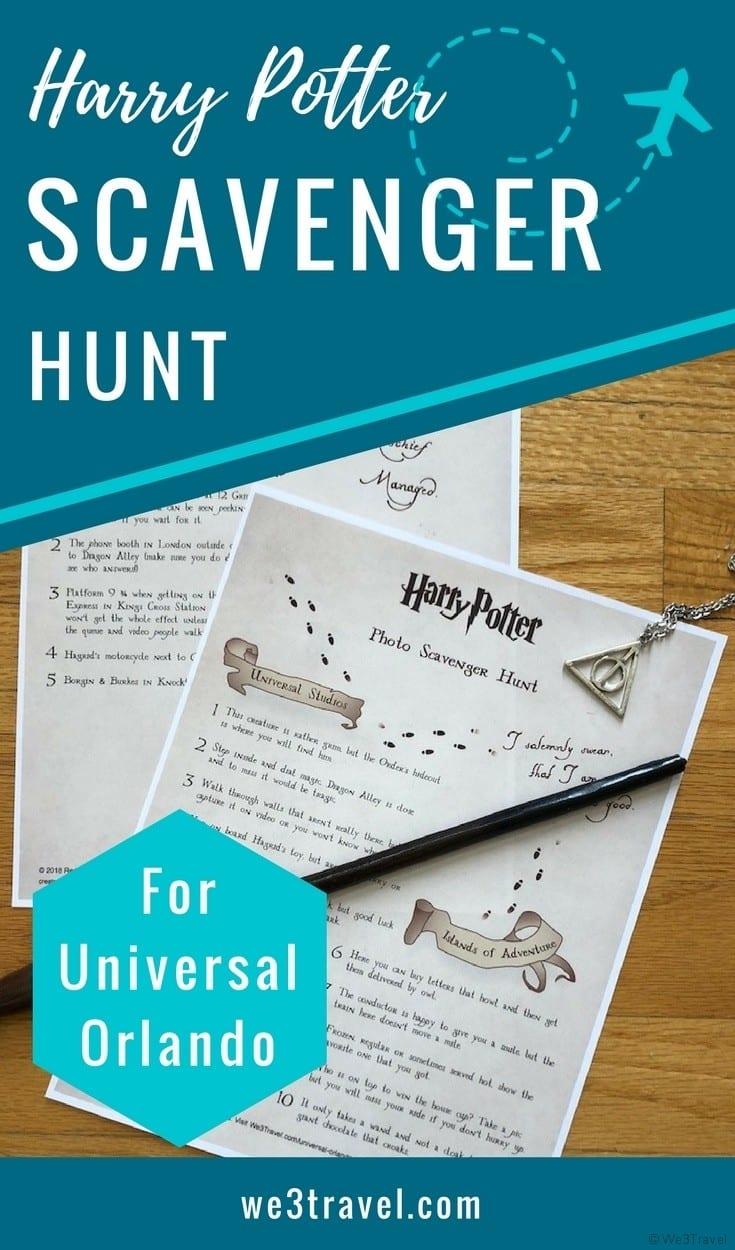 Harry Potter photo scavenger hunt for Universal Orlando with free printables and a fun Instagram photo contest with prizes!