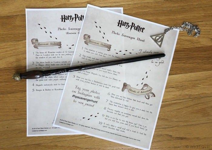 Harry Potter Universal Orlando photo scavenger hunt printables