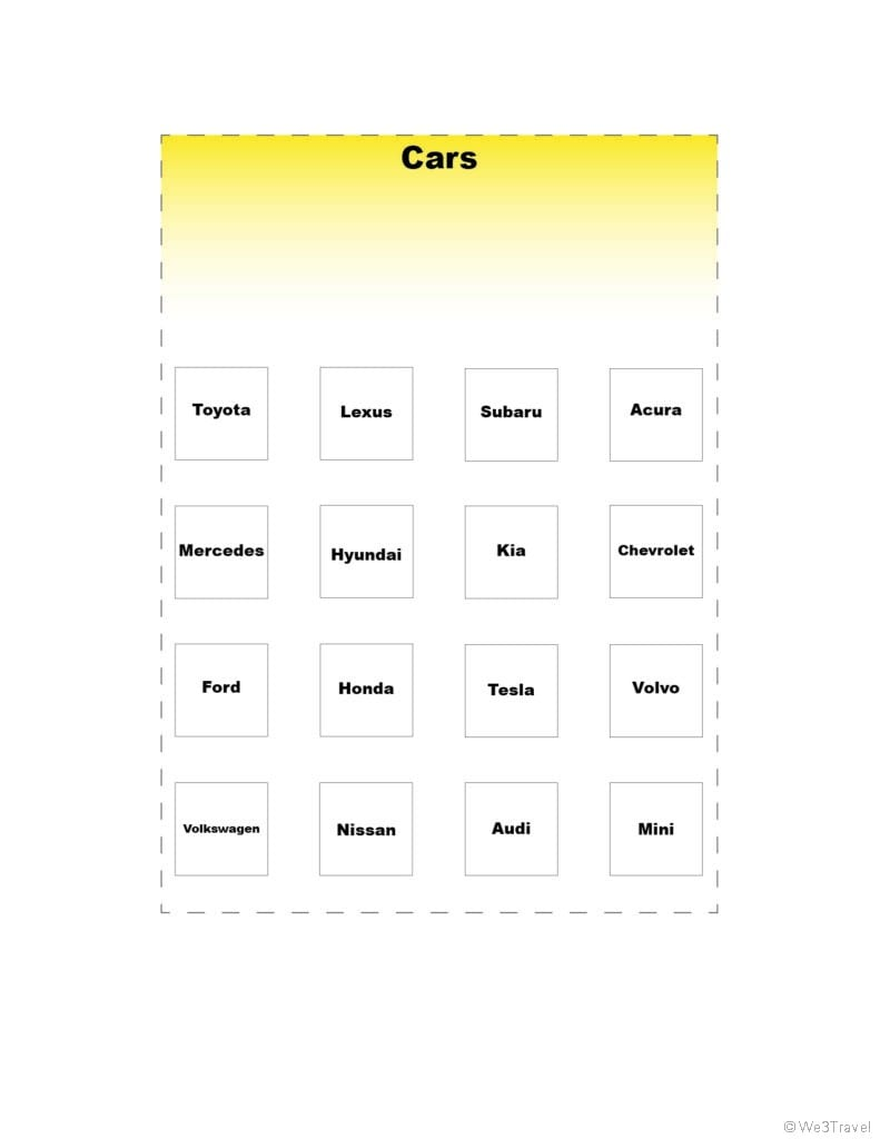 Car brand road trip bingo printable