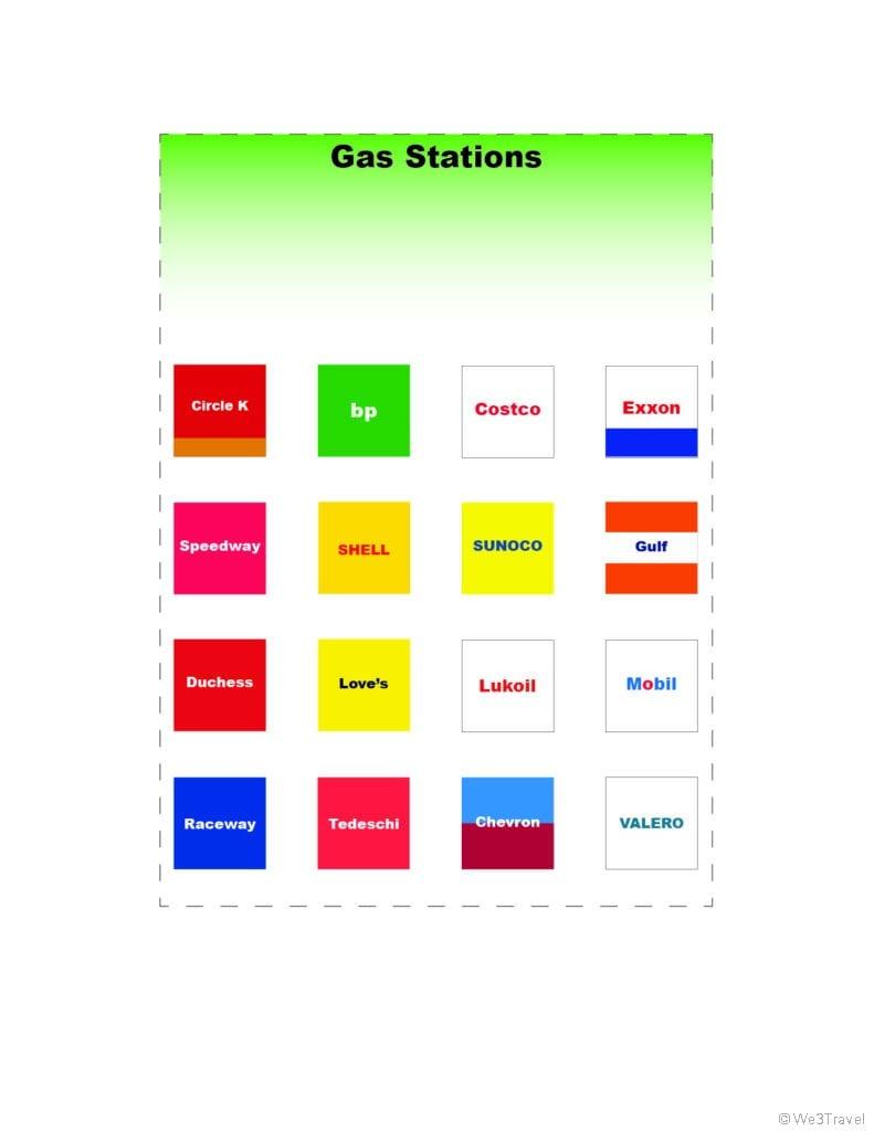 Gas station road trip bingo printable