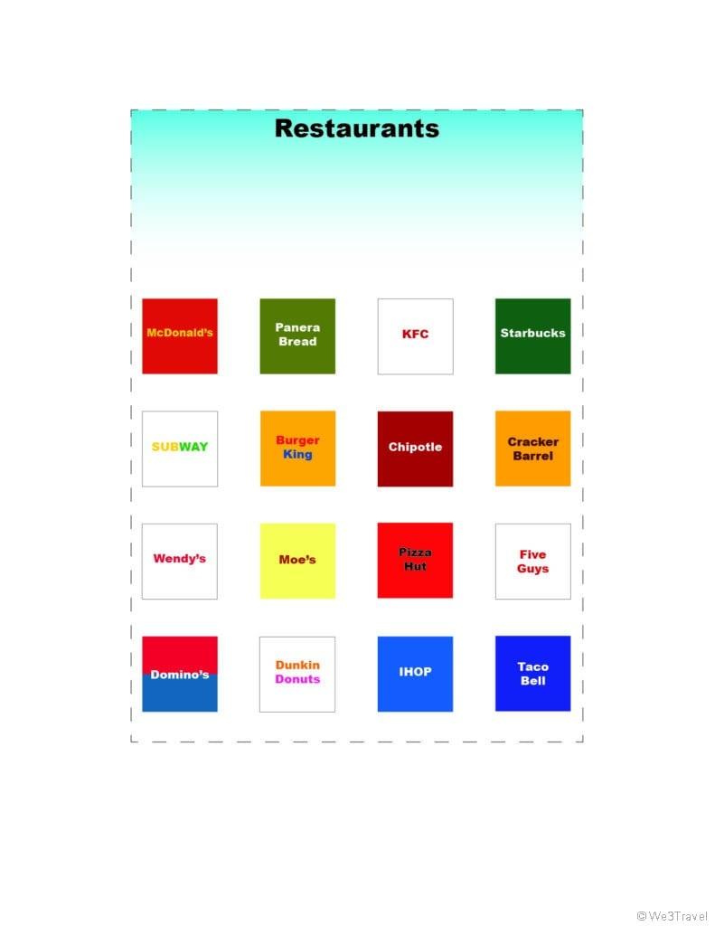 Restaurant road trip bingo printables