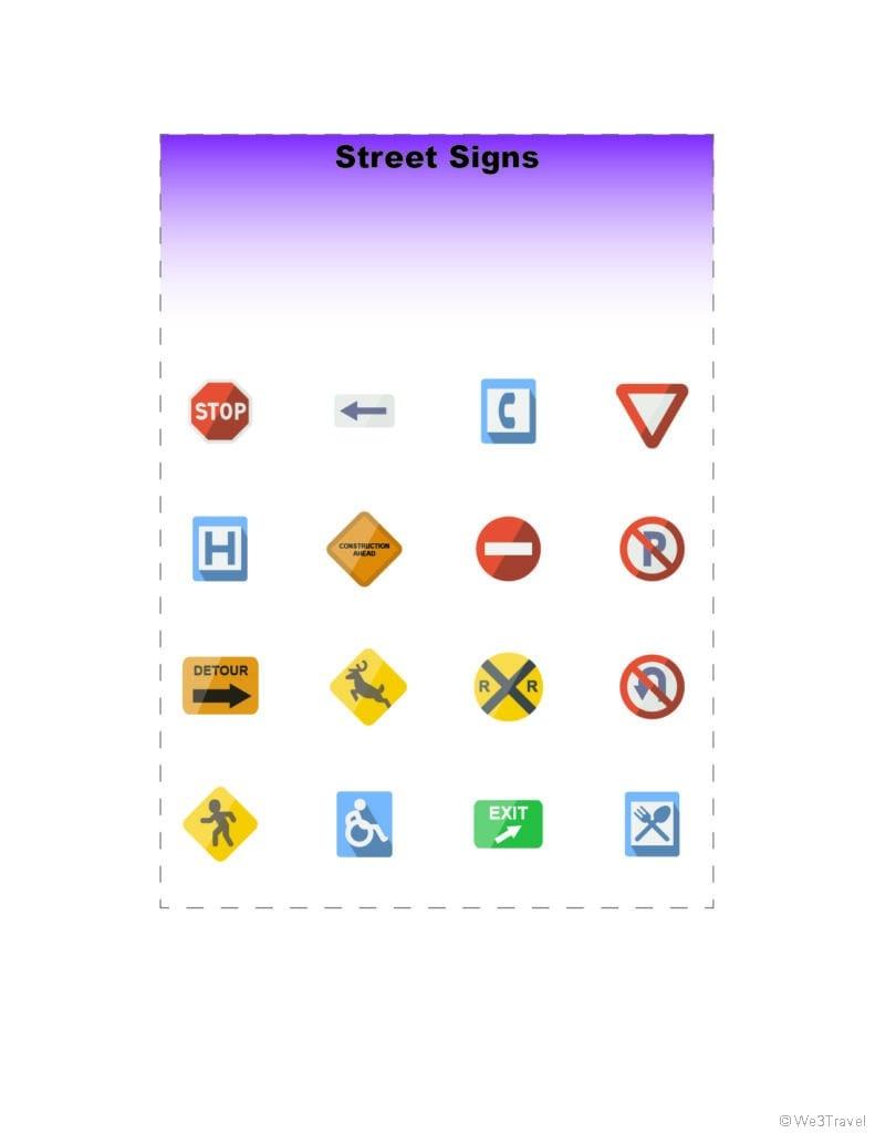 Road signs road trip bingo printable