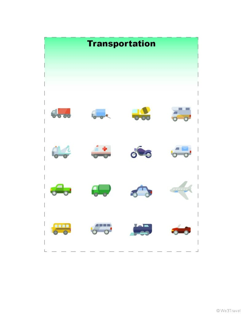 Transportation vehicles road trip bingo printable