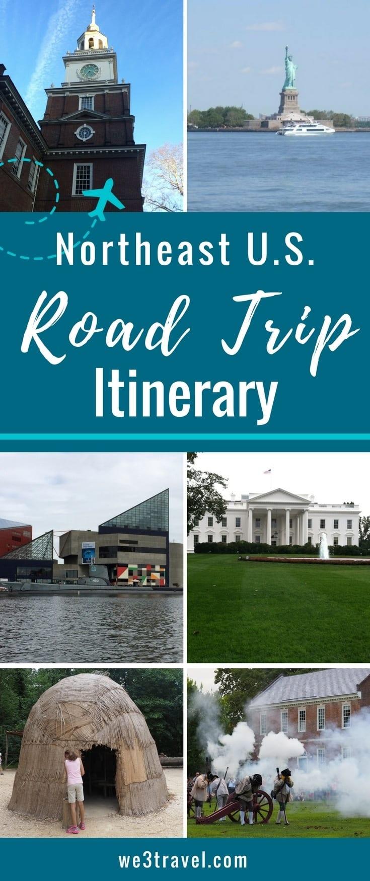 Northeast road trip itinerary for visiting Williamsburg, Jamestown, Washington DC, Baltimore, Philadelphia, New York and Boston #roadtrip #northeast #boston #familytravel