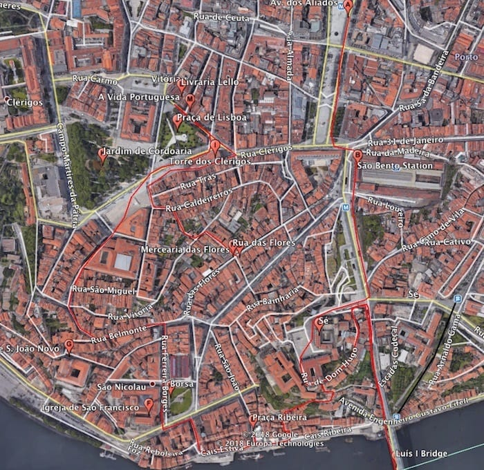 Walking tour of Porto Portugal Map