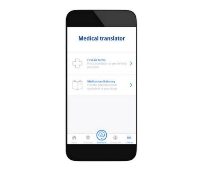 TravelSmart mobile app medical translations