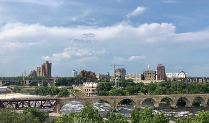 Minneapolis skyline view from Endless Bridge