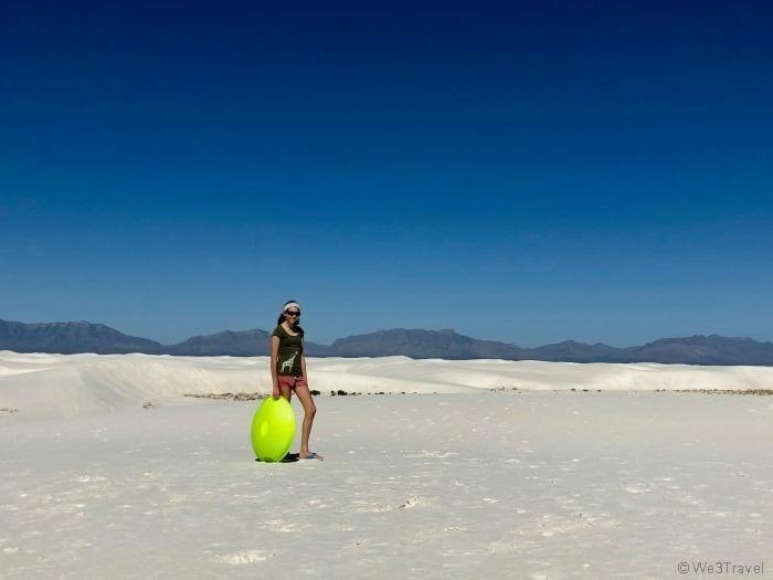 Sledding in White Sands National Monument