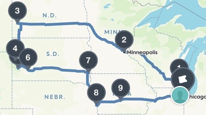 Midwest road trip route